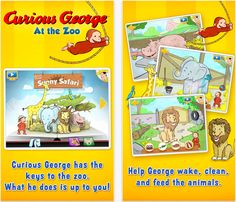 Curious George at the Zoo - interactive safari scene featuring 5 animals and one mini game. #kids #apps #animals #education