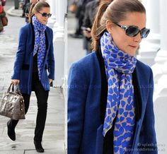 Pretty color combination. The hearts on Pippa Middleton's scarf are adorable too!