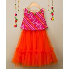 Many Frocks & Bandhni Choli & Frilled Lehenga - Pink & Orange Baby Pageant Dresses, Kids Party Wear Dresses, Kids Dress Wear, Baby Girl Party Dresses, Kids Gown, Dresses Kids Girl, Girls Frock Design, Baby Dress Design, Baby Frocks Designs