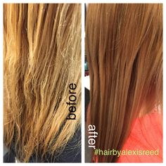 Started with a pre art treatment. Darkened her underneath and highlight/lowlight her partial section. Giving a healthy trim. Using redken Extreme shampoo conditioner anti snap and cat treatment. Let the hair healing begin! #hairbyalexisreed