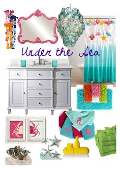 Disneyhome- Under the Sea, The Little Mermaid inspired Bathroom by bijouxetsoirees on Polyvore featuring interior, interiors, interior design, home, home decor, interior decorating, Kassatex, Disney, Seletti and Howard Elliott