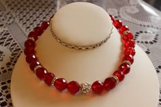Red Glass Beaded Necklace with Crystals by AngeleDesignsLA on Etsy, $28.00