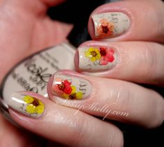 Newspaper Nails with Real Dried Flowers |  Sassy Shelly