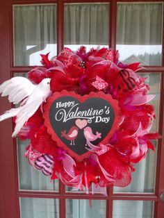 Valentine's Day Pink and Red Deco Mesh Door Wreath