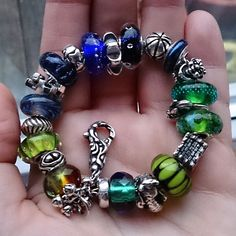 Blue and green on a grey day #trollbeads meets #elfbeads and some #ohmbeads and #pandora