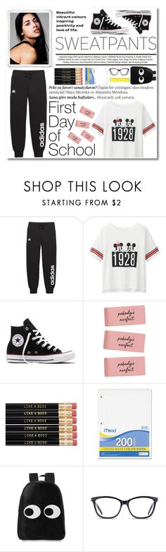 """""""B2S"""" by natalia-jewelz ❤ liked on Polyvore featuring De Lacy, Balmain, adidas, Uniqlo, Converse, Mead and GlassesUSA"""