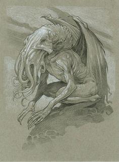 Cthulhu by Grazing Dinosaur Press Science Fiction, Call Of Cthulhu, Cthulhu Art, Ufo, Lovecraftian Horror, Eldritch Horror, Digital Painting Tutorials, Monster Design, My Demons