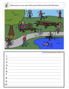 Subject + Verb Loaded Worksheets: Set 2 - also good for pronoun task. Adventures in Speech Pathology Speech Pathology, Speech Language Pathology, Speech And Language, English Writing Skills, English Lessons, Teaching English, Speech Therapy Activities, Language Activities, Simple Sentence Structure