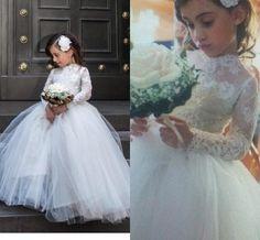 Lace Girl's Birthday Party Dress,,Handmade Flower Girl Dress,Winter Long Sleeve High Collar Flower Girl Dress,