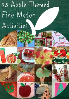 25 Fun Apple Themed Fine Motor Activities for toddlers, preschoolers and school aged kids Preschool Apple Theme, Apple Activities, Motor Skills Activities, Fall Preschool, Autumn Activities, Toddler Activities, Preschool Activities, Time Activities, September Activities
