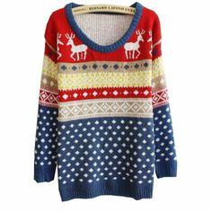 Amazon.com: Women Girls New Fashion Deer Dot Deer Jubilant Blue Sweater: Clothing