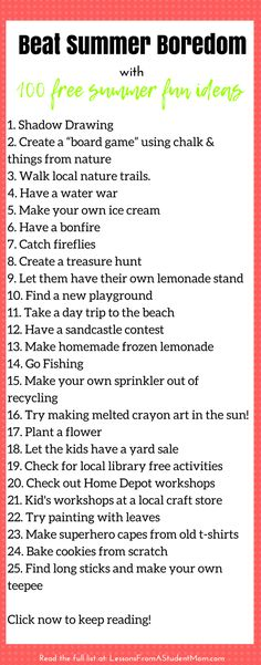 Give your kids an awesome summer with this summer bucket list. 100 absolutely free summer activities to keep the fun rolling in.