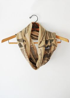 Going Hunting - Black and Camel - modern jersey printed cowl circle scarf Boho - by Bark Decor