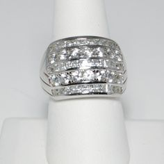 Stunning QVC Diamonique Thick Band Ring with Round and Princess Cuts Stones SZ 9
