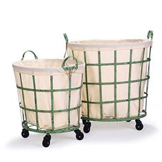 Adeco Round Rolling Laundry and Storage Baskets, Beige Lining, Window Pattern, Khaki Green (Set of - Overstock™ Shopping - Great Deals on Baskets & Bowls Rolling Laundry Basket, Laundry Cart, Laundry Hamper, Laundry Rooms, Small Laundry, Sacs Design, Hanging Bar, Khaki Green, Color Khaki
