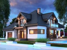 My House Plans, Modern House Plans, House Roof, Facade House, Home Building Design, Building A House, Kerala House Design, Kerala Houses, Dream House Exterior