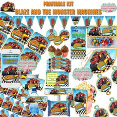 Printable and editable Kit #Blaze and the #Monster #Machines [party hat, toppers, wrappers, invitations boxes, pennants, br] #DIY de AhastariDesigns en Etsy