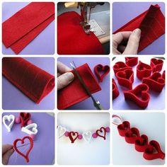Make a cute guirlande for christmas or even valentines. Valentine Tree, Valentine Crafts, Christmas Crafts, Felt Diy, Handmade Felt, Heart Crafts, Valentines Day Decorations, Felt Hearts, 3d Hearts