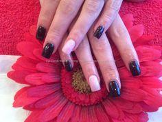 Acrylic nails with black n cherry blossom gel polish