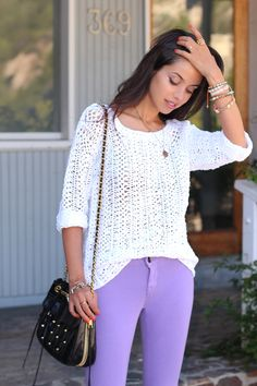 Lilac jeggings/white knit sweater