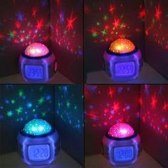 #LED Starry Sky #Night #Light Digital Projector Music Alarm Clock Baby Kids Lamp