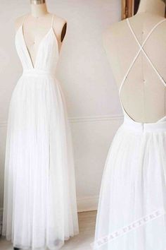 Deep-v prom dress, backless prom dress, sexy long prom dress with straps