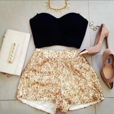 shorts shirt gold crop tops gold sequins pumps
