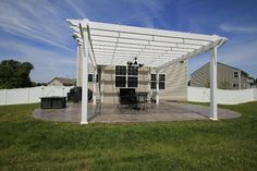 Pergola System will help you escape to your backyard while enjoying the privacy surroundings with a matching vinyl privacy fence. Both Shoreline Vinyl Systems Vinyl Privacy Fence, Vinyl Pergola, Garage Doors, Backyard, Space, Awesome, Outdoor Decor, Home Decor, Floor Space