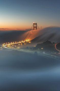 GGB in fog   Tule Fog Sunrise  |   Ed Francisco