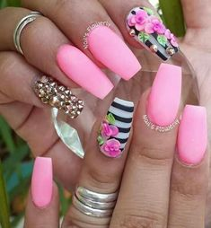 Hot Nails, Swag Nails, Hello Nails, 3d Acrylic Nails, 3d Flower Nails, Secret Nails, 3d Nail Designs, Pink Nail Art, Red Nail