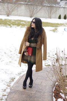 How to style a green sweater dress for Valentine's Day