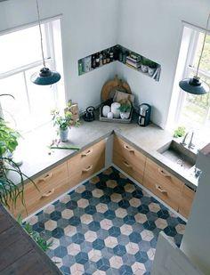 Kitchen Room Design, Home Decor Kitchen, Rustic Kitchen, Interior Design Kitchen, Home Kitchens, Concrete Kitchen, Concrete Counter, Küchen Design, House Plans