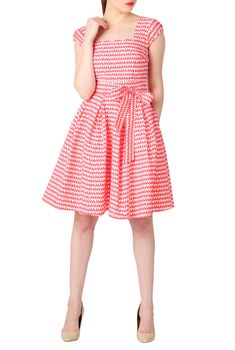 Scallop Neck Fit-And-Flare Dress from @eshakti #bunnies #print #retroinspired #vintageinspired #tailormade #sale