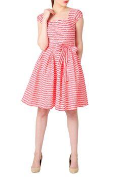Scallop Neck Fit-And-Flare Dresses, Cotton Print Dresses Women's short dresses - Evening dresses, cocktail, prom dresses | eShakti