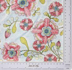 Tela bonita con flores modernas en tonos rosas, coral, azules y verdes.   Telas de la colección Hello World Itty Bitty diseñadas por Cori Dantini.
