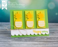 handcrafted card using Lil' Inker pineapple stamps and dies ... sunny bright in chromium yellow, chartreusse and  bright white ... luv it!