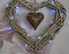 Natural Wicker Heart and Hammered Metal Cutout by EdwardandEllen