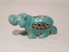 #1-Hippo-Medium size Soapstone Carving, Colorful Animals, Wire Art, African Art, Piggy Bank, Making Out, Arts And Crafts, Hand Painted, Medium
