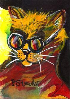 ACEO Rainbow Kitty 10 Incognito Rock Star Cat Shades SFA WC OOAK Penny StewArt #IllustrationArt