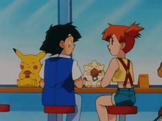 Totally not a romantic moment but still 😍 Pokemon Ash And Misty, Ash Pokemon, Pokemon People, Pokemon Funny, Pokemon Memes, Pokemon Couples, Cute Pikachu, Girl Meets World, Pokemon Pictures