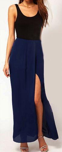 Split Ruched Chiffon Maxi Skirt