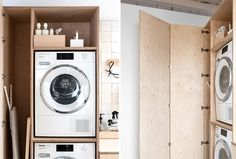DIY: l'ultime armoire à linge Laundry Room Layouts, Laundry Room Design, Hallway Storage, Storage Spaces, Laundry Cabinets, Laundry Room Inspiration, Laundry Closet, Industrial Living, Paint Colors For Living Room