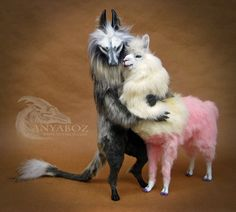 Forbidden Love by AnyaBoz on DeviantArt Cute Fantasy Creatures, Cute Creatures, Mythical Creatures, Felt Animals, Cute Animals, Realistic Stuffed Animals, Pokemon Dolls, Fantasy Art, Fantasy Gifts