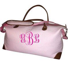 Monogrammed Pink Seersucker Weekender Bag by NolaBabies on Etsy