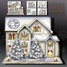 Winter Silver Christmas House Card Kit on Craftsuprint designed by Atlic Snezana - Winter Silver Christmas House Card Kit: 4 sheets for print with decoupage for 3D effect plus few sentiment tags (for your own personal text) - Now available for download!