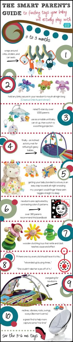 Baby Toys: the Smart Parent's Guide to Finding Toys Your Baby Will Actually Play with from 0 to 3 Months [by Incredible Infant -- via #tipsographic]. More at tipsographic.com
