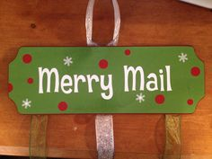 MERRY MAIL!!  I just LOVED this when I first saw it on Pinterest.  Bought the wood from Michaels, painted it, added ribbon, and made the words, polka dots, and snow flakes with my Silhouette Cameo.  Great way to display my Christmas cards!
