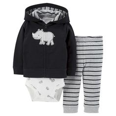 Just One You™Made by Carter's® Newborn Boys' 3 Piece Rhino Cardigan Set