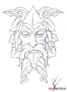 """Loving History and Folklore, I've always wanted to paint a """"green man"""". The Green Man is a mystical figure found as ornament on many buildings Wood Burning Stencils, Wood Burning Crafts, Wood Burning Art, Pyrography Patterns, Wood Carving Patterns, Man Sketch, Sketch Drawing, Celtic Art, Leather Pattern"""