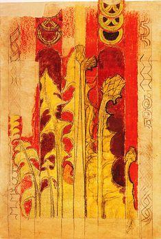 Stanisław Wyspiański, Plantain - polychrome in St. Francis of Assisi's Church, Kraków, 1895 Art Nouveau Illustration, St Francis, Impressionist, Painting, Symbols, Sculpture, Art Prints, Drawings, Artist